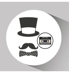 Music cassette hat mustache bow tie vintage vector