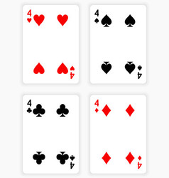 Playing cards showing fours from each suit vector