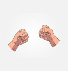 Realistic sketch hands - gestures hand-drawn icon vector