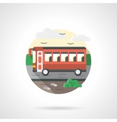 Red bus flat color detailed icon vector image
