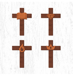Set of crosses with christian symbols vector