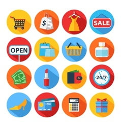 Set of flat shopping icons vector image