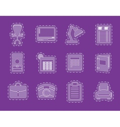 Simple business office and firm icons vector