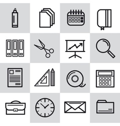 Sixteen thin line office icons vector