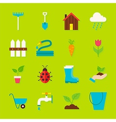 Spring Garden Flat Objects Set with Shadow vector image