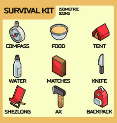 survival kit color outline isometric icons vector image