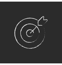 Target board and arrow icon drawn in chalk vector