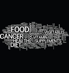 The diet cancer link text background word cloud vector