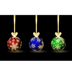 Three colored Christmas spheres vector image vector image