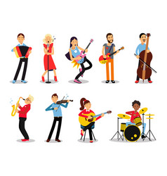 Various musicians characters in flat style vector
