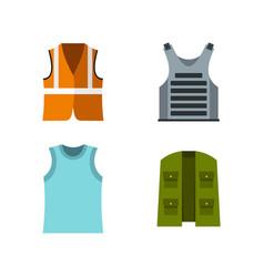 vest icon set flat style vector image