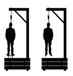 Gallows set in black color with man on it vector