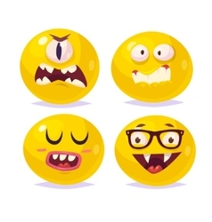 Smiles set of characters cute cartoons vector