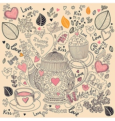 Love pattern with teapot vector image