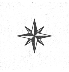 Vintage wind rose symbol or icon in rough vector