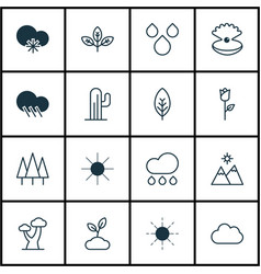 set of 16 ecology icons includes landscape sun vector image