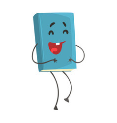 Blue funny laughing humanized cartoon book vector