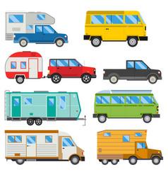 Campers vacation travel car summer nature holiday vector