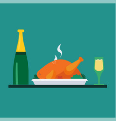 turkey on plate with wine bottle and glasses of vector image