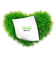 Grassy heart with a clean sheet of paper vector