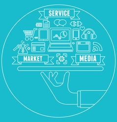 Line concept of media market service vector