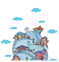Scene with cartoon houses vector