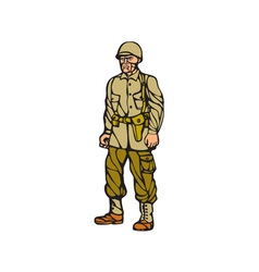 American world war two soldier standing linocut vector