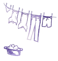 Clean underwear drying on the rope is wet in the p vector
