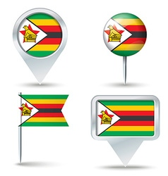 Map pins with flag of zimbabwe vector