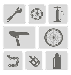 Set of monochrome icons with bicycle vector