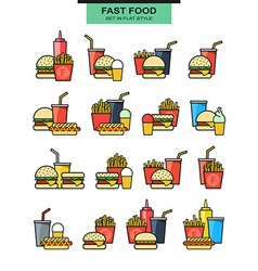 Sets burgers with drinks potato fries and ice vector