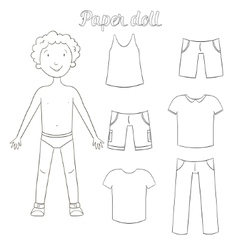 Paper doll boy and clothes coloring book vector