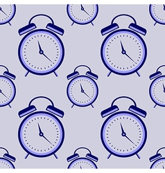 Seamless pattern with closeup blue alarm clocks vector