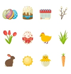 Set of happy easter icons flat vector