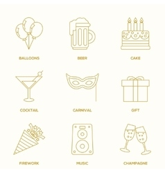 Party outline icons vector