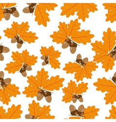 Acorns with oak leaves in autumn seamless texture vector
