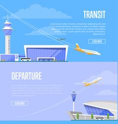 aircraft transit and airport departure flyers vector image vector image