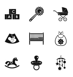 Baby icons set simple style vector image