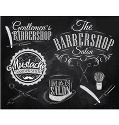 Barbershop Set chalk vector image vector image