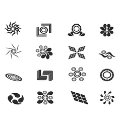 black abstract pattern icons vector image vector image