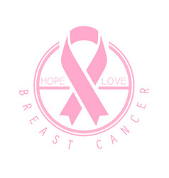 Breast cancer hope love label vector