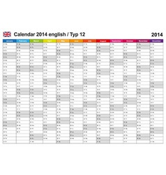 Calendar 2014 English Type 12 vector image vector image