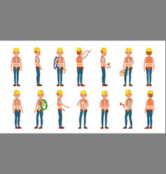 classic electrician different poses vector image vector image
