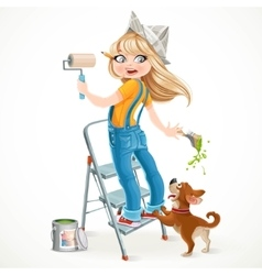 Cute girl in overalls standing on a stepladder vector