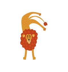 Cute lion cartoon character standing upside down vector