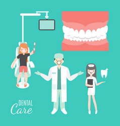 Dental care dentist doctor and patient in medical vector