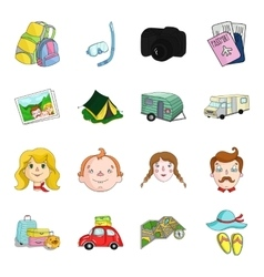 Family holiday set icons in cartoon style big vector