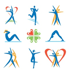 Fitness health icons vector