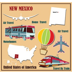 Flat map of New Mexico vector image vector image