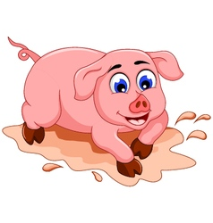 Funny pig cartoon with mud puddle vector